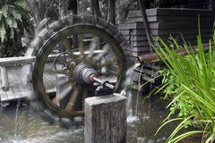 Water wheel turbine, small power plant Stock Images