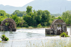 Water wheels in irrigation sistem near Trebinje. Bosnia and Herz Royalty Free Stock Photo