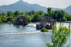 Water wheels in irrigation system near Trebinje. Bosnia and Herz Royalty Free Stock Photo
