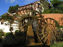 Water wheels in Lijiang, daytime Royalty Free Stock Photography
