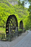 Water wheels near Xiaofeng River. Water wheels in scenic area near Xiaofeng River stock photography
