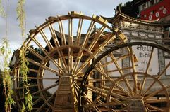 Water wheels in Old Town of Lijiang Royalty Free Stock Photography