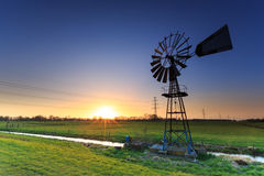 Water windmill in a dutch landscape Royalty Free Stock Photography