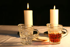 The water and wine. The altar is lit by the early morning sunlight royalty free stock photo