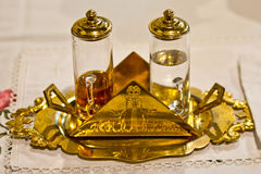 Water and wine on the altar ready for Holy Mass Royalty Free Stock Images