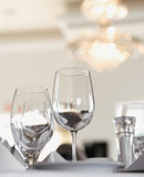 Water and Wine Glasses on Table Stock Images