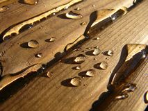 Water on Wood. Wet wood Stock Image