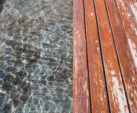 Water and wood floor Royalty Free Stock Images