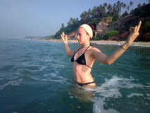 Water workout in the ocean in the country of yoga Stock Photos
