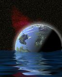 Water world 1. Planet floating in water, surreal Vector Illustration