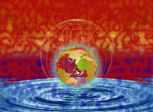 Water world. Illustration of world on water with ripples vector illustration
