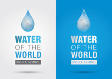 Water of the world.Icon signage symbol water drop with the world Stock Photo
