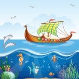 Water world with merchant ships Viking S.VI. Cartoon image of the water world with merchant ships Viking S.VI Royalty Free Stock Photos