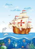 Water world with a sailing ship of Spain, XV century. Children's illustration of the water world with a sailing ship of Spain, XV century Stock Photography