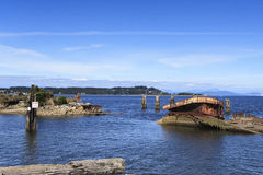 Water wrecks. Of the beach at Royston located on Vancouver Island Royalty Free Stock Images