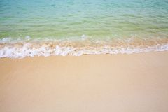 The water on wuzhizhou island, China`s most beautiful beach, washes the beach royalty free stock photography