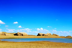 The Water Yardang Devil City, the world`s unique water yardang landform. Located in Qinghai province , China royalty free stock photos