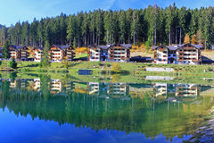 Waterbassin Hrabovo dichtbij stad Ruzomberok, Slowakije Royalty-vrije Stock Foto's