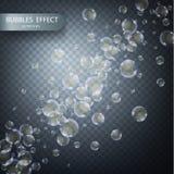 Waterbellen op een transparante geruite achtergrond Vector realistisch effect malplaatje Iriserende zeepbels vector illustratie