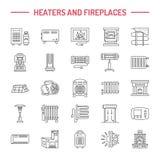 Waterboiler, thermostaat, elektrische gas zonneverwarmers en andere de lijnpictogrammen van huisverwarmingen Dunne lineair vector illustratie