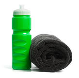 Waterbottle and towel Stock Photo