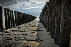 Waterbreak с взглядом побережья Стоковые Изображения RF