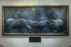 Waterbuffalo painting in Zhongshan hall in Taipei, Taiwan. stock photos