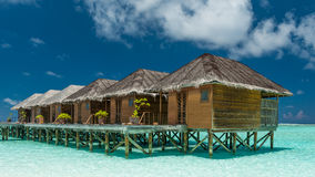 Waterbungalows on the maldives Stock Images