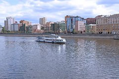 Waterbus sailing along the Moscow river Royalty Free Stock Photo