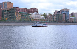 Waterbus sailing along the Moscow river Stock Photo