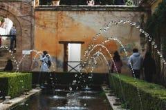 Watercaption nos jardins de Generalife imagem de stock