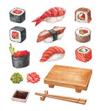 Watercollor illustrations of a sushi royalty free illustration