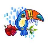 Watercolo Bird Toucan Ramphastida , tropical flower. Watercolo Bird Toucan Ramphastida , tropical hibiscus flower in cartoon style. The phrase Hello. Suitable Stock Photography