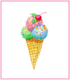 Watercolo ice cream in waffle cone Royalty Free Stock Image