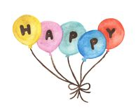 """Watercolor """"HAPPY"""" on colorful balloons. Hand drawn pack of party balloons."""