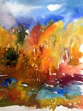 Watercolor άγρια δασικά δέντρα ημέρας τοπίων υποβάθρου τέχνης αφηρημένα ελεύθερη απεικόνιση δικαιώματος
