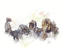 Watercolor άγριων ζώων Στοκ φωτογραφία με δικαίωμα ελεύθερης χρήσης