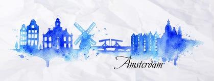 Watercolor Άμστερνταμ σκιαγραφιών Στοκ Εικόνα
