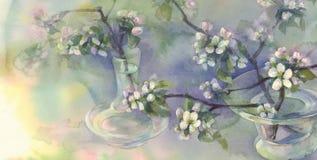 Watercolor άνθισης δέντρων της Apple Στοκ εικόνα με δικαίωμα ελεύθερης χρήσης