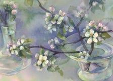 Watercolor άνθισης δέντρων της Apple Στοκ Φωτογραφίες