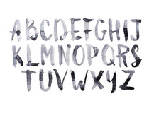 Watercolor ακουαρελών πηγών κεφαλαίες επιστολές αλφάβητου τύπων χειρόγραφες συρμένες χέρι doodle abc Στοκ Εικόνες
