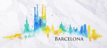 Watercolor Βαρκελώνη σκιαγραφιών Στοκ Εικόνες