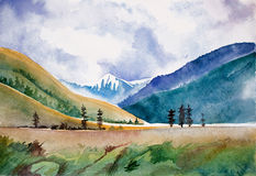 watercolor βουνών τοπίων Στοκ Φωτογραφία