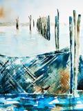 watercolor διχτυών λιμνών αλιείας διανυσματική απεικόνιση