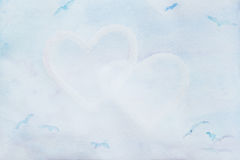 Watercolor λεπτό, μπλε, καρδιές αφηρημένη αγάπη ανασκόπησης Έννοια περίπου και σχέση, θέση για το κείμενό σας Στοκ Εικόνες