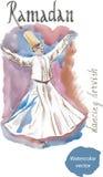 Watercolor δερβίσηδων χορού Στοκ Εικόνες