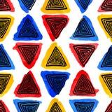 Watercolor και μαύρα σπειροειδή τρίγωνα διανυσματική απεικόνιση