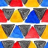 Watercolor και μαύρα σπειροειδή τρίγωνα ελεύθερη απεικόνιση δικαιώματος