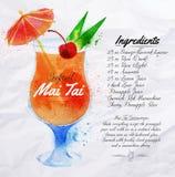 Watercolor κοκτέιλ της Mai Tai Στοκ Φωτογραφίες