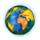Watercolor με το γήινο πλανήτη Στοκ φωτογραφία με δικαίωμα ελεύθερης χρήσης